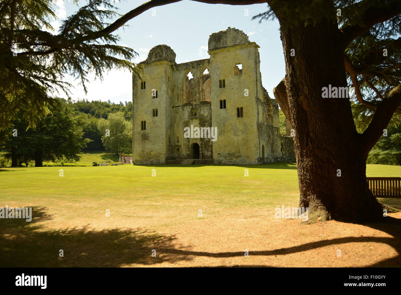 A ruined castle in the sun - Stock Image