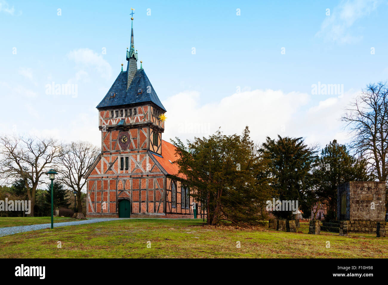 Historic half-timbered church at Tripkau, Lower Saxony - Stock Image