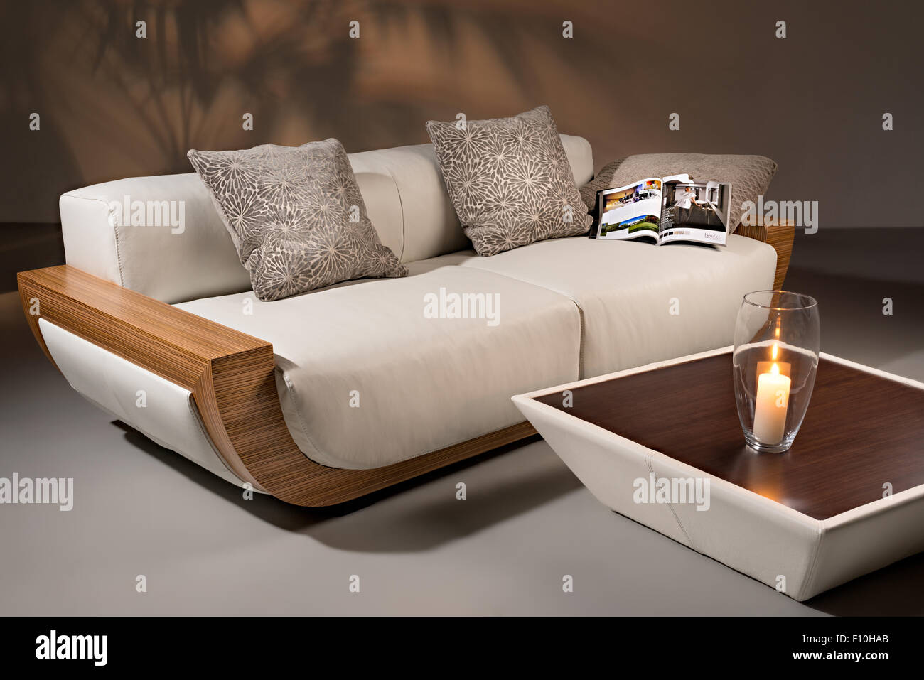 Bon A Sofa From Natural White Leather, Goose Down And Wooden Blocks Of Natural  Color, With Pillows, Journal And A Table With A Burni