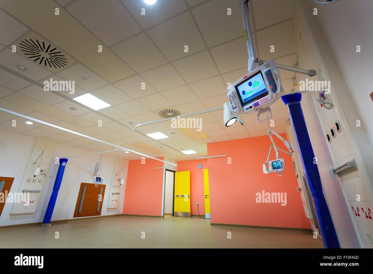 Personal television on bed stations in empty hospital ward - Stock Image