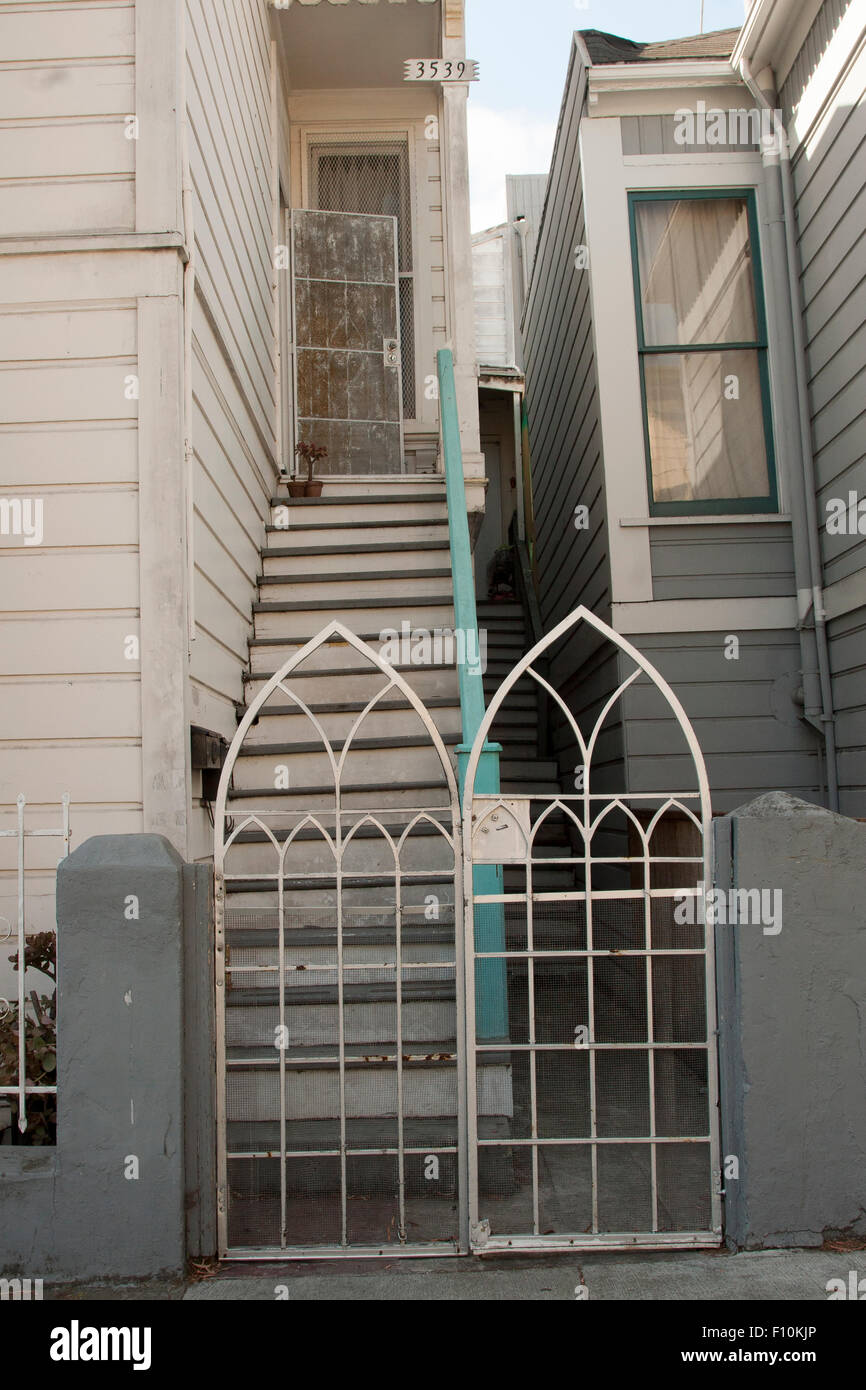 Neighbors on 24th Street in The Mission in San Francisco, California. - Stock Image