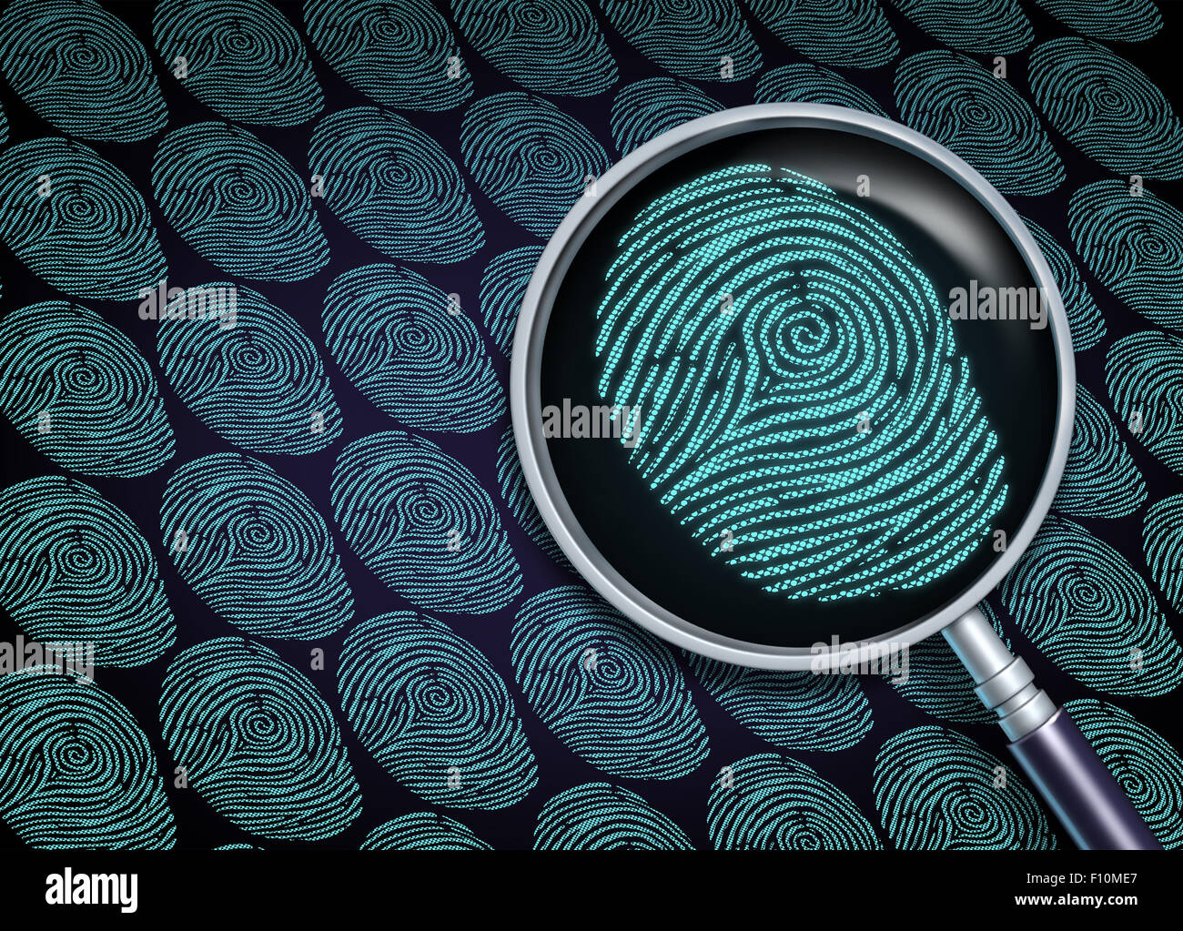 Identity search concept or choosing the right employee as a recruitment and human resource symbol with a magnifying - Stock Image