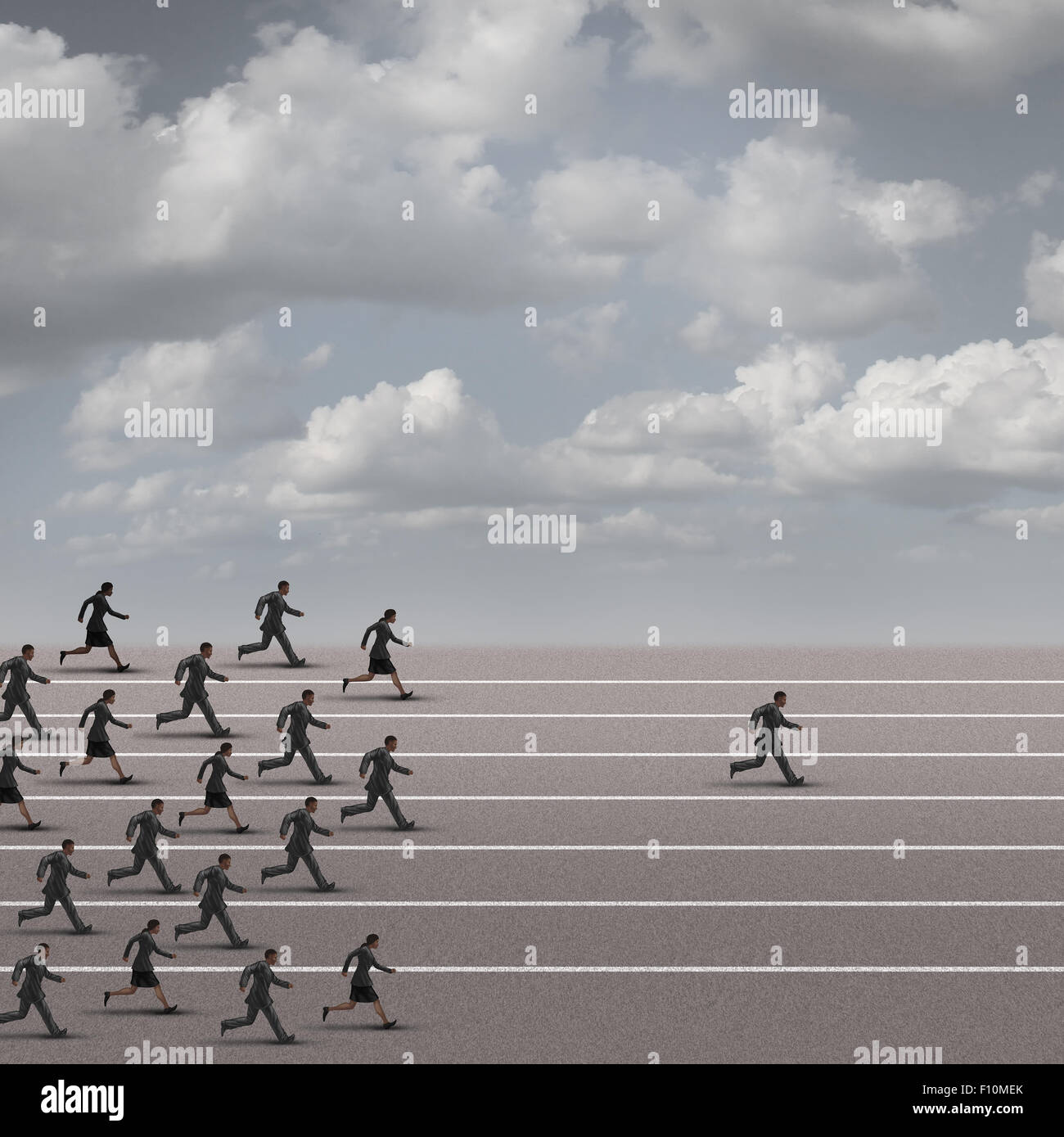 Winning the race business concept as a group of businesspeople running together with an individual businessman breaking - Stock Image