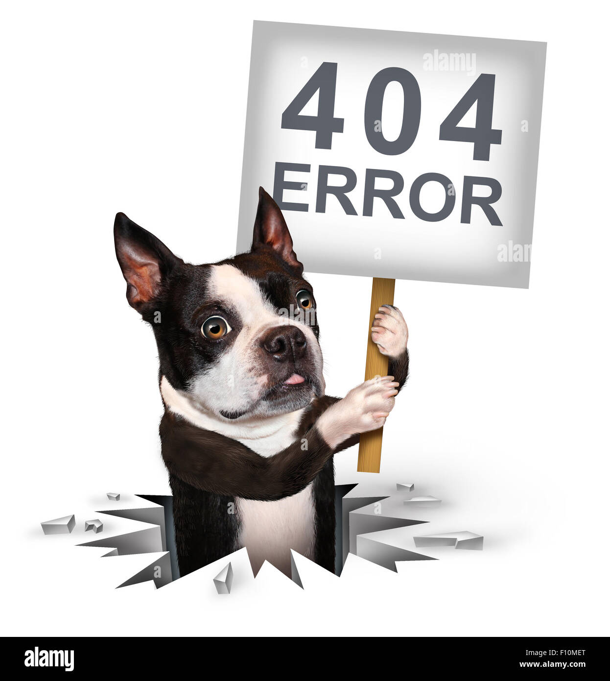 404 error page not found concept and a broken or dead link symbol as a dog emerging from a hole holding a sign with - Stock Image