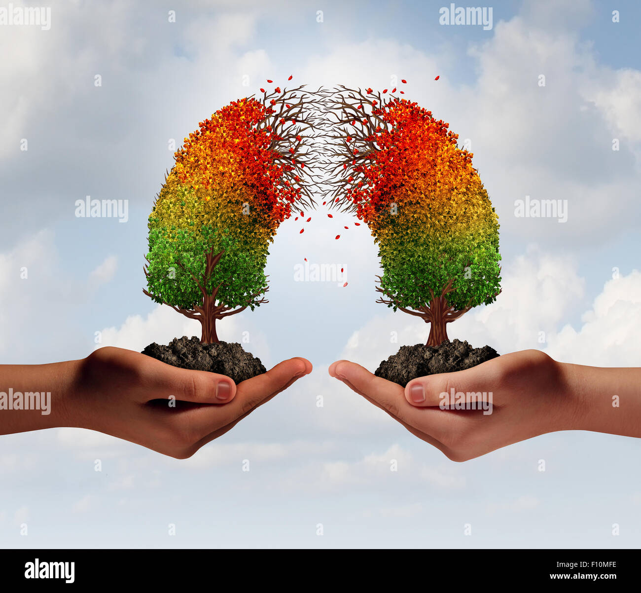 Partnership crisis concept as two people holding connected trees that are decaying in the middle as a business relationship - Stock Image
