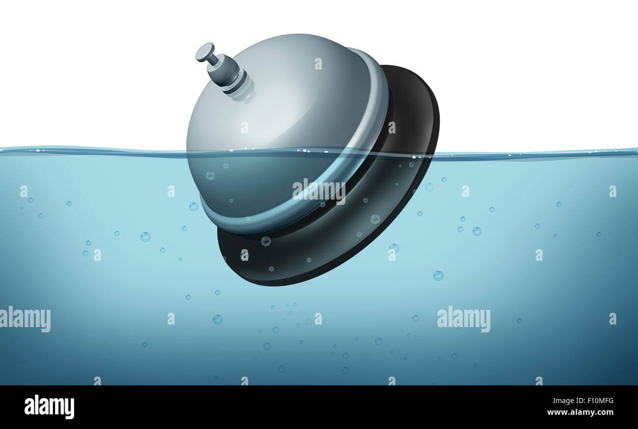 Service problem and bad customer help symbol as a service bell or servicebell symbol drowning in water as an icon - Stock Image