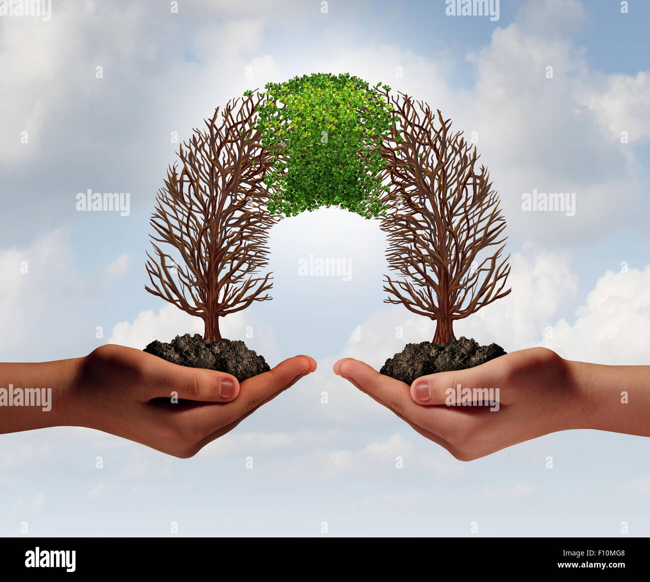 Build a business as a collaborative team with struggling trees connecting with a partner for teamwork financial - Stock Image