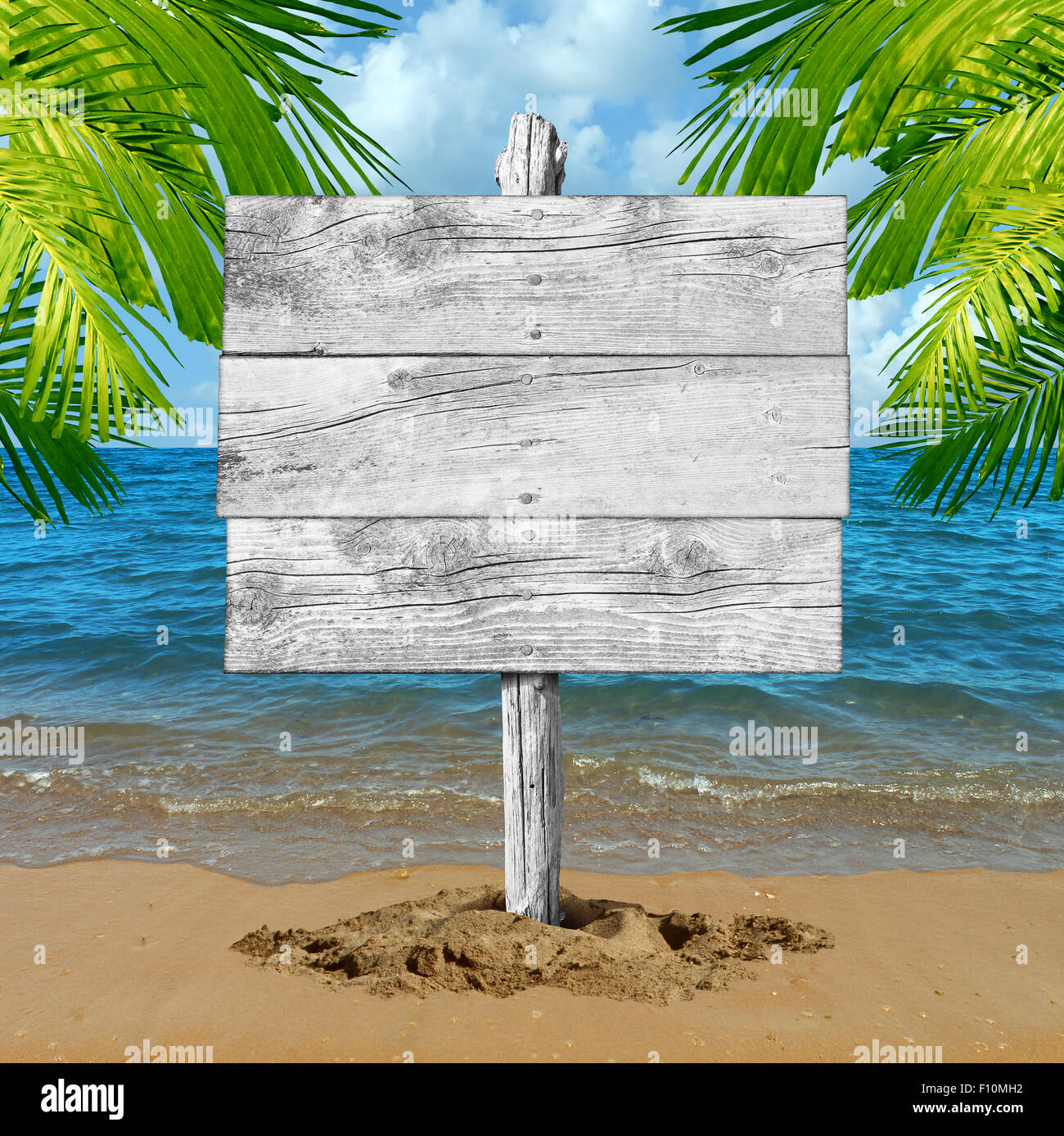 Beach wood sign and tropical vacation blank billboard background as an ocean wave on sand with palm tree leaves - Stock Image