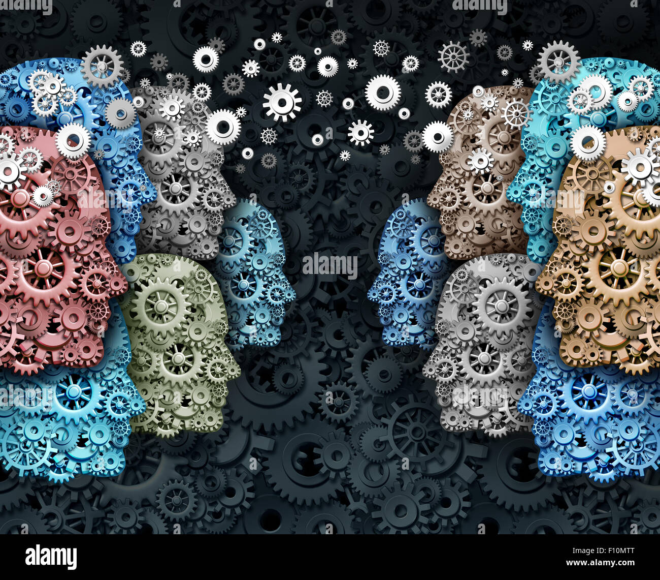 Social business and crowd media internet communication marketing web concept as a group of people made of gears - Stock Image