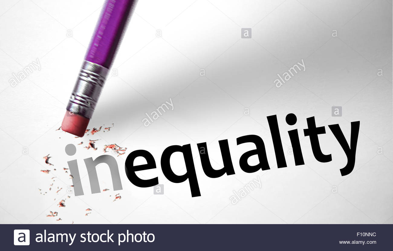Eraser changing the word inequality for equality - Stock Image