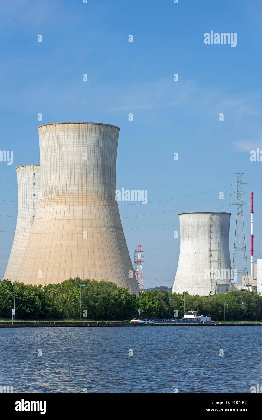 Cooling towers of the Tihange Nuclear Power Station along the Meuse River at Huy / Hoei, Liège / Luik, Belgium - Stock Image