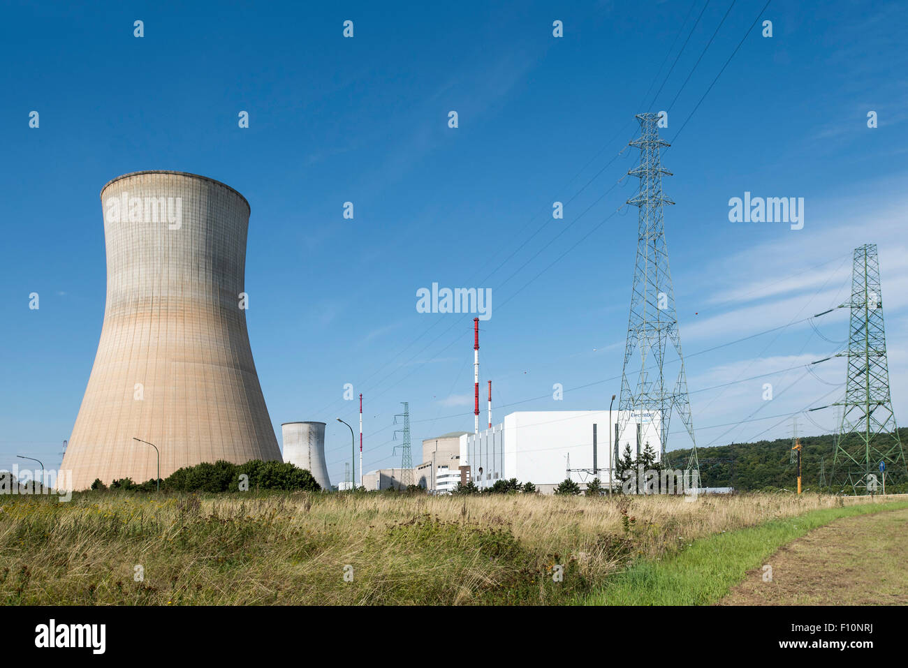 Cooling towers of the Tihange Nuclear Power Station at Huy / Hoei, Liège / Luik, Belgium - Stock Image