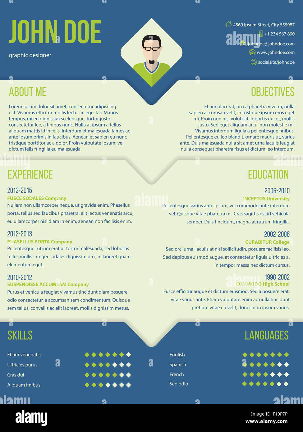 Modern Curriculum Cv Resume Template Design In Blue And Green Color