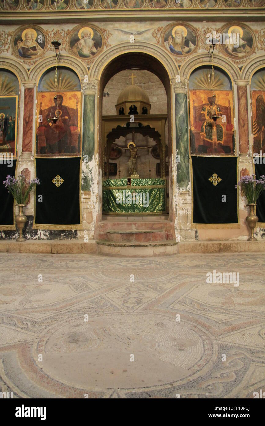 Israel, Jerusalem, mosaic floor at the Greek Orthodox Church of the Holy Cross - Stock Image