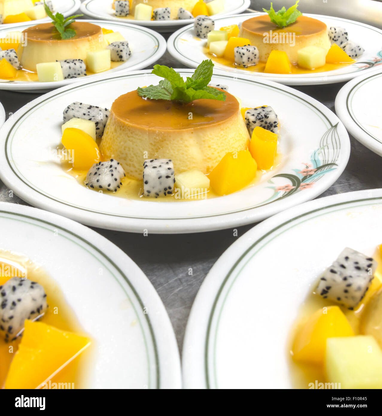 caramel custard pudding - Stock Image