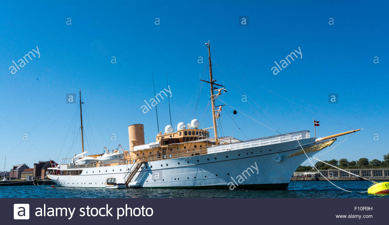 The Danish royal yacht, Dannebrog, at its anchoring in the port of Copenhagen - Stock Image