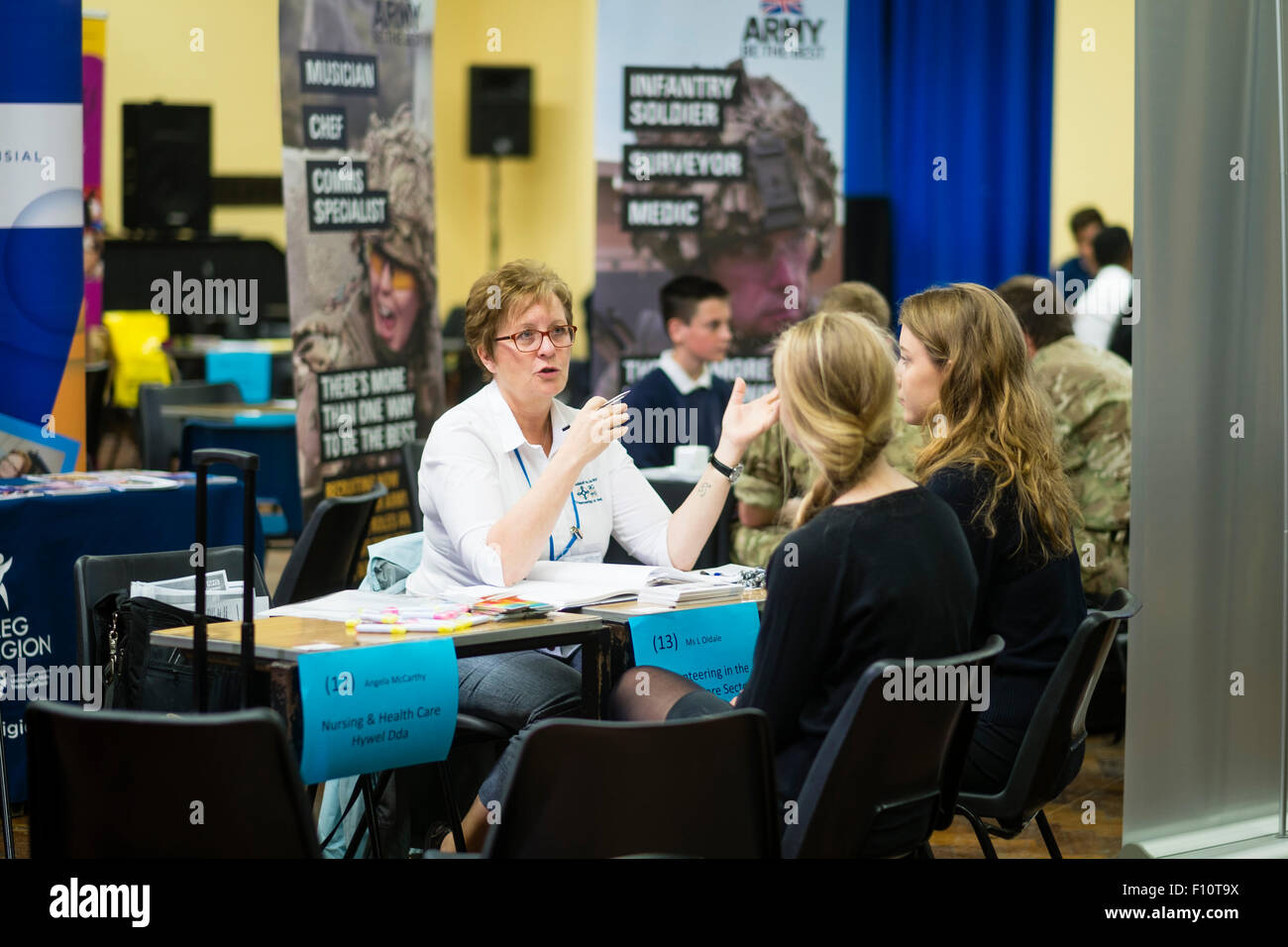 Student pupils at Penglais School getting advice in choosing  jobs and on further education options at a careers - Stock Image