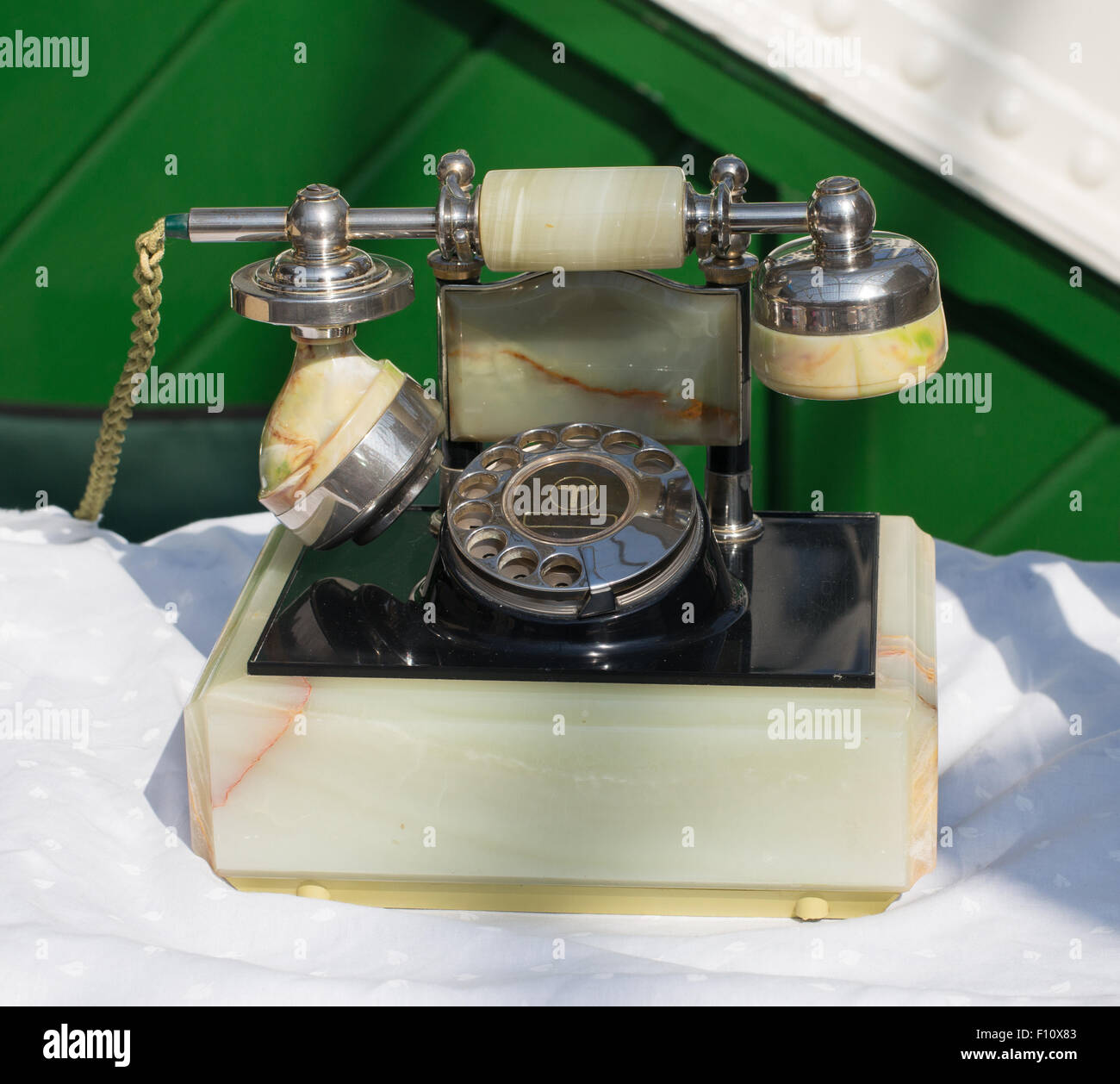 Onyx repro rotary  dial telephone by BT, circa 1985 seen at Tynemouth station market, North Tyneside, England, UK - Stock Image