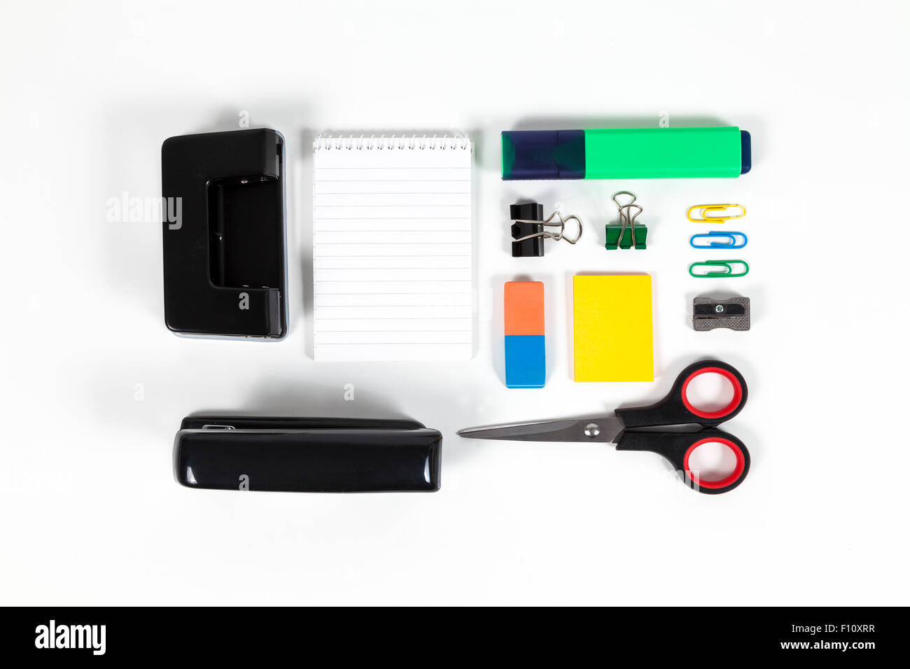Ordered office supplies isolated - Stock Image