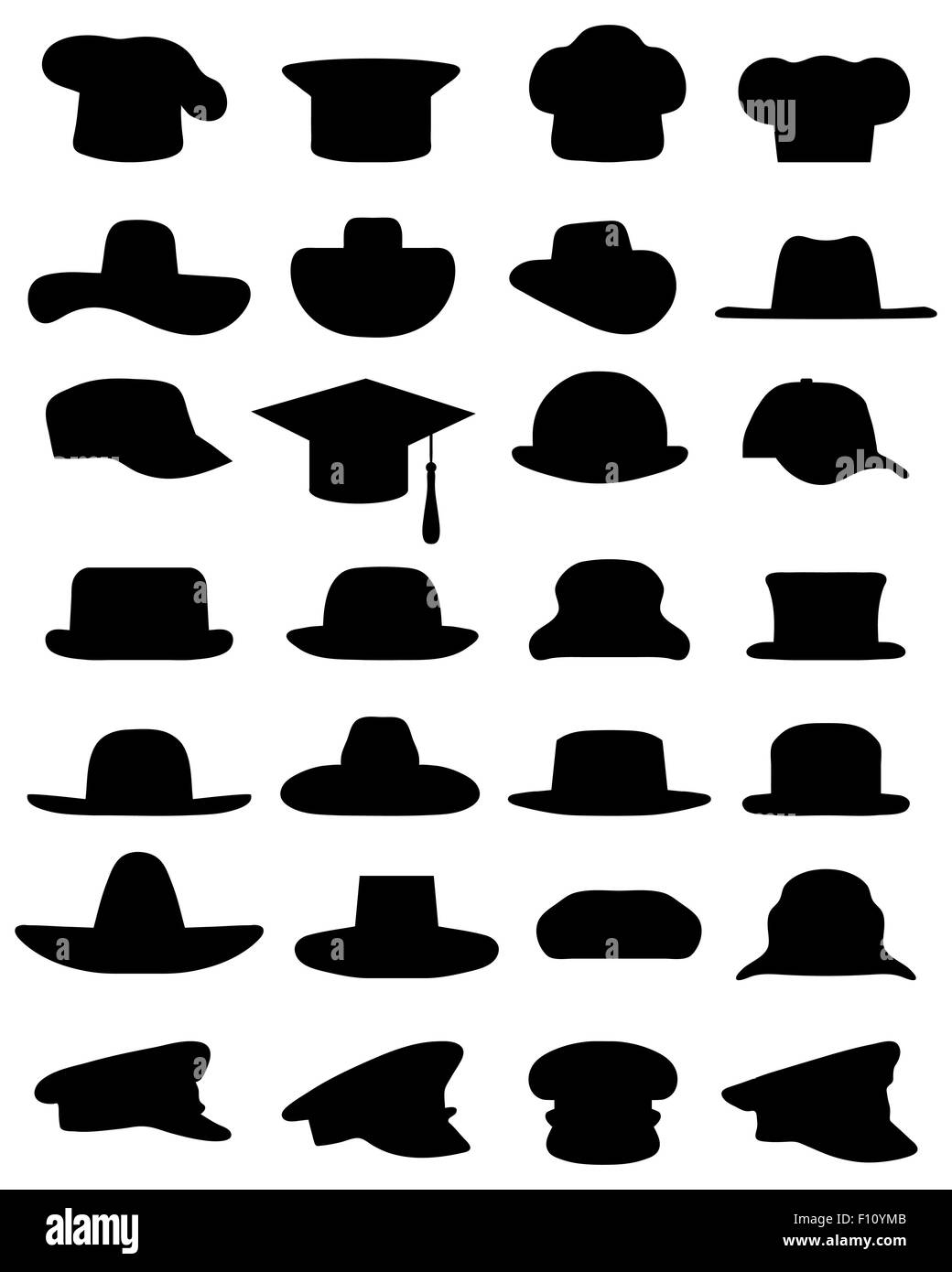 Black silhouettes of various caps and hats, vector - Stock Image