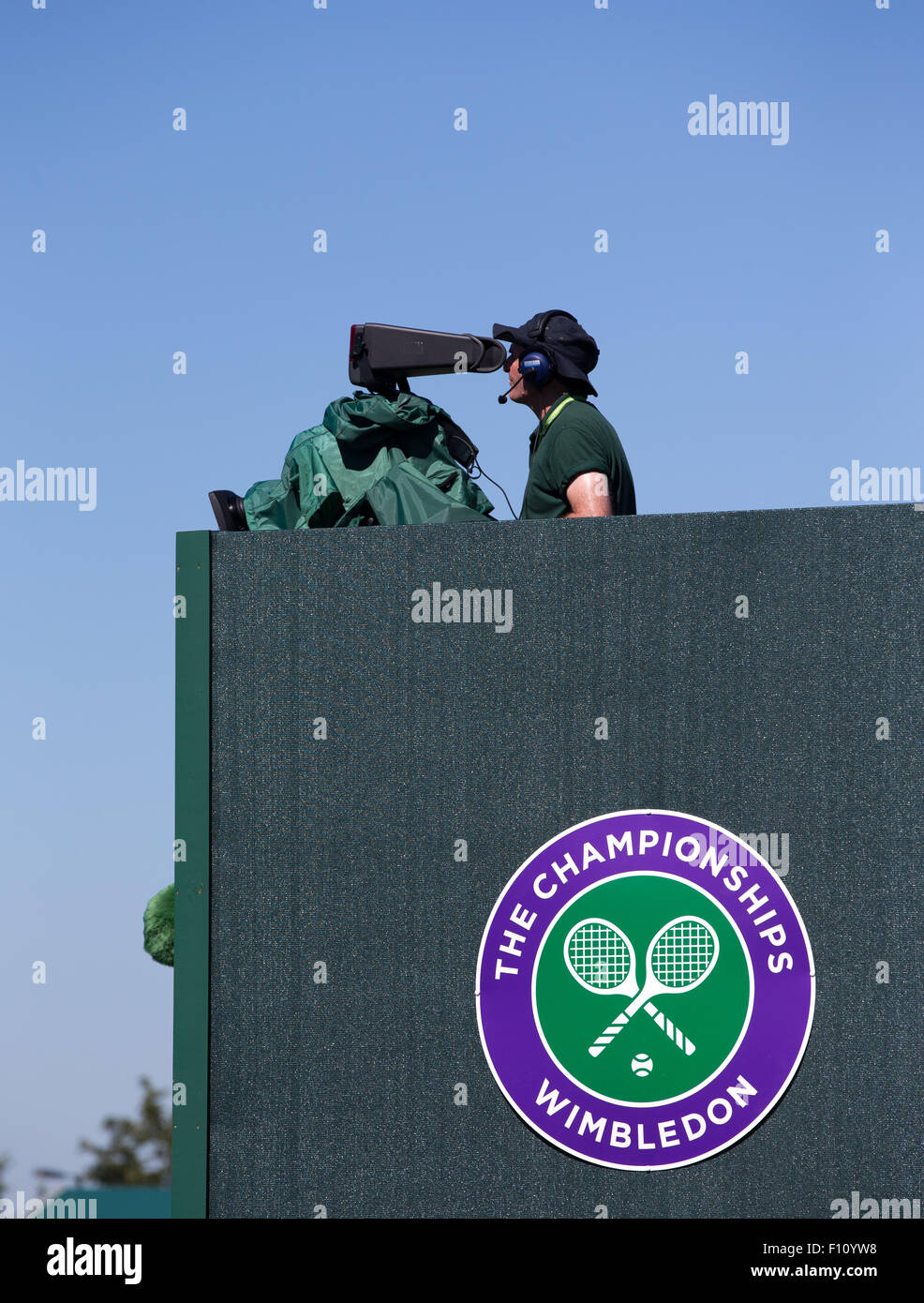 TV camera man at the Wimbledon Championship - Stock Image