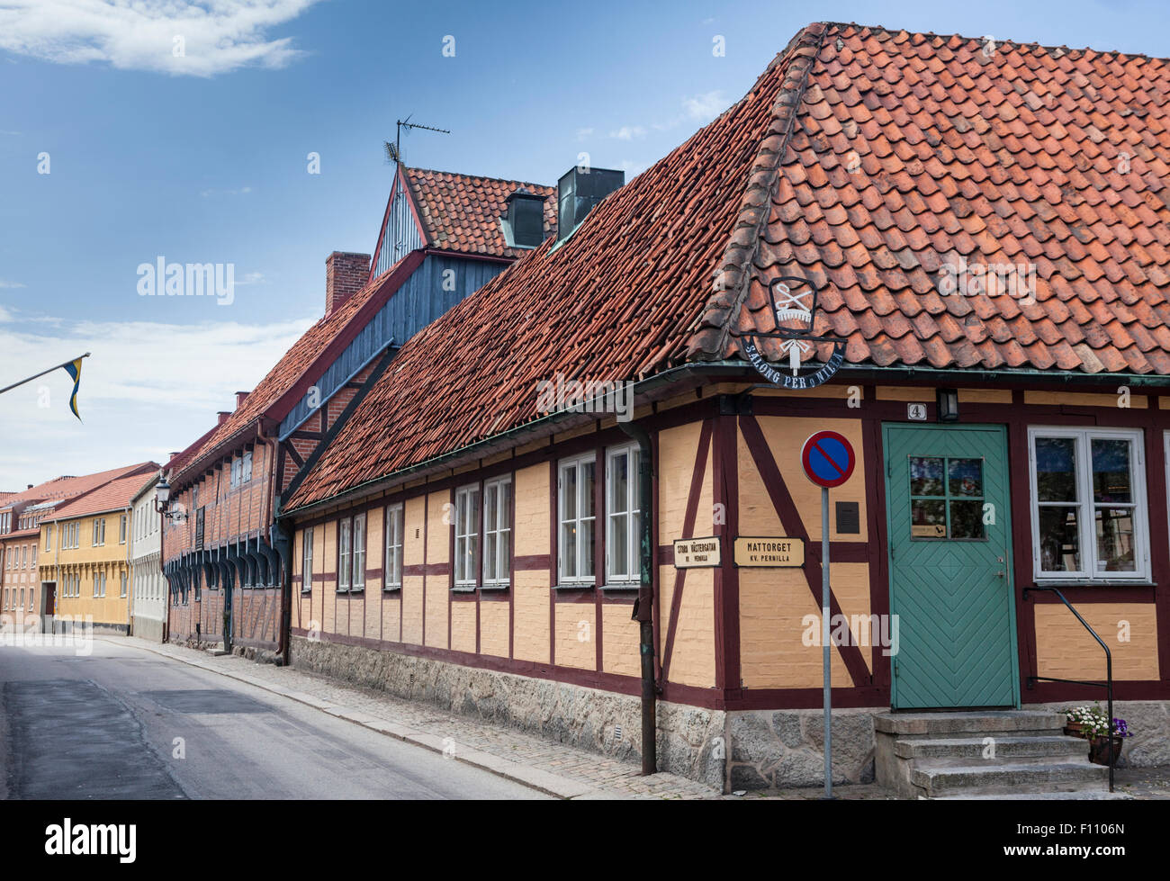 Half-timbered buildings in Ystad, a town in Skane in southern Sweden - Stock Image