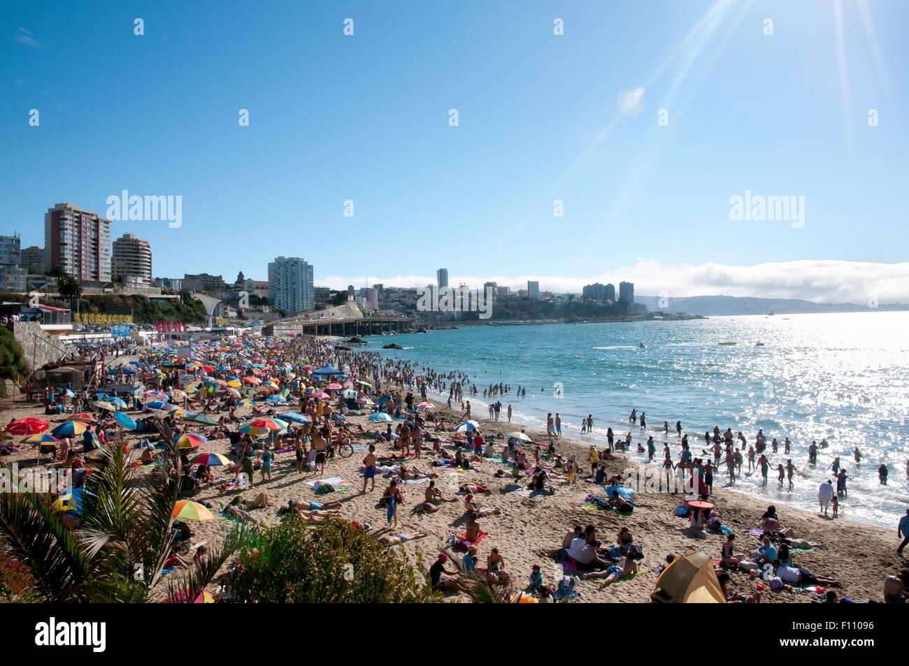Pacific Coast Beach - Vina Del Mar - Chile - Stock Image