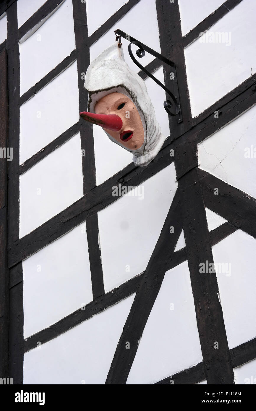Masker with long red noses, the Blancs-Moussis, a traditional carnival attribute - Stock Image