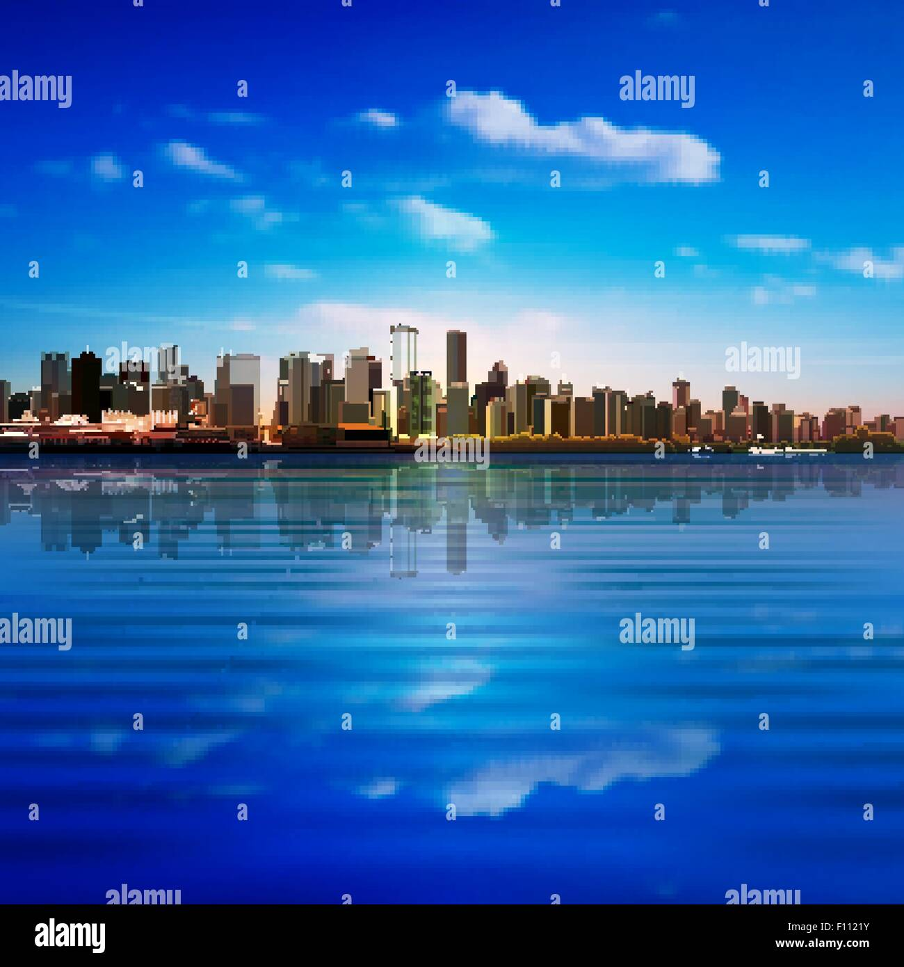 abstract blue nature background with clouds and panorama of Vancouver - Stock Vector
