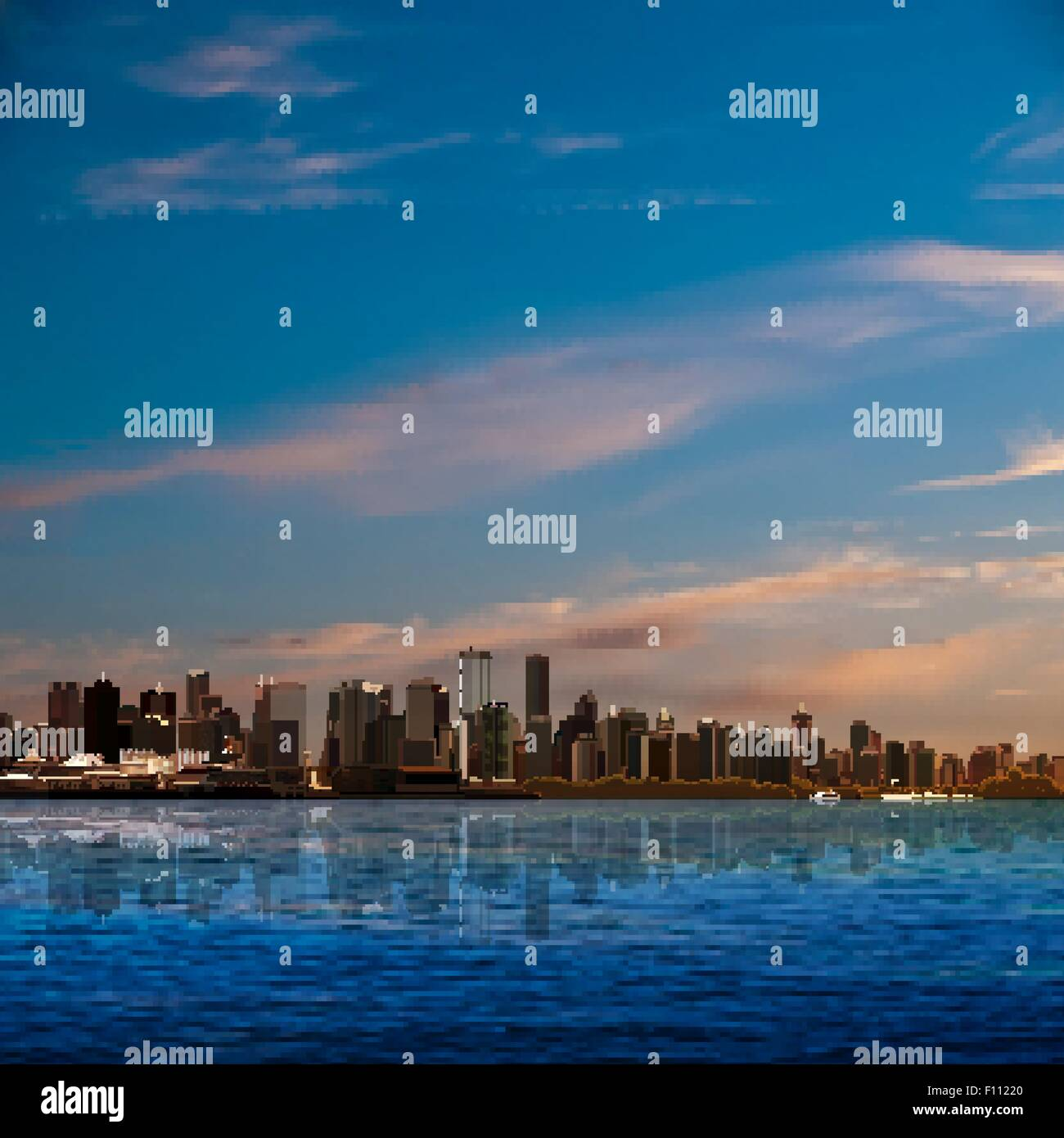 abstract nature background with blue sky and panorama of Vancouver - Stock Vector