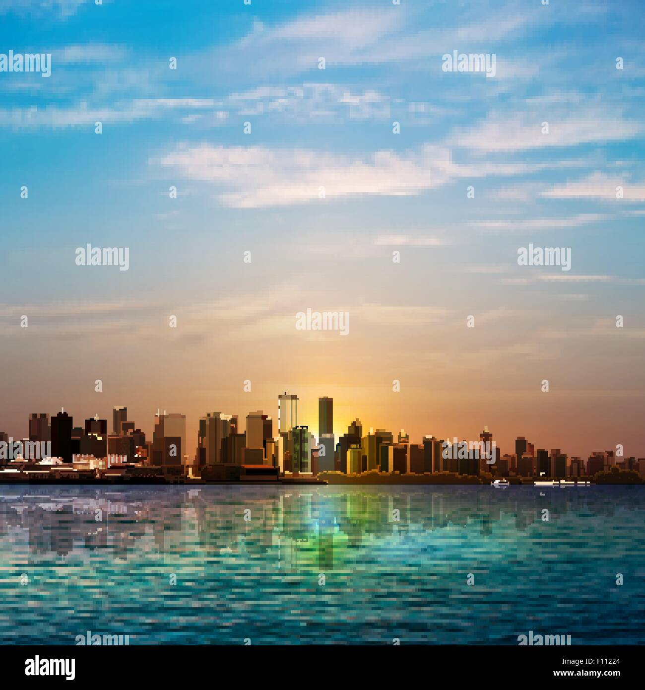 abstract nature background with panorama of Vancouver and blue sky - Stock Vector