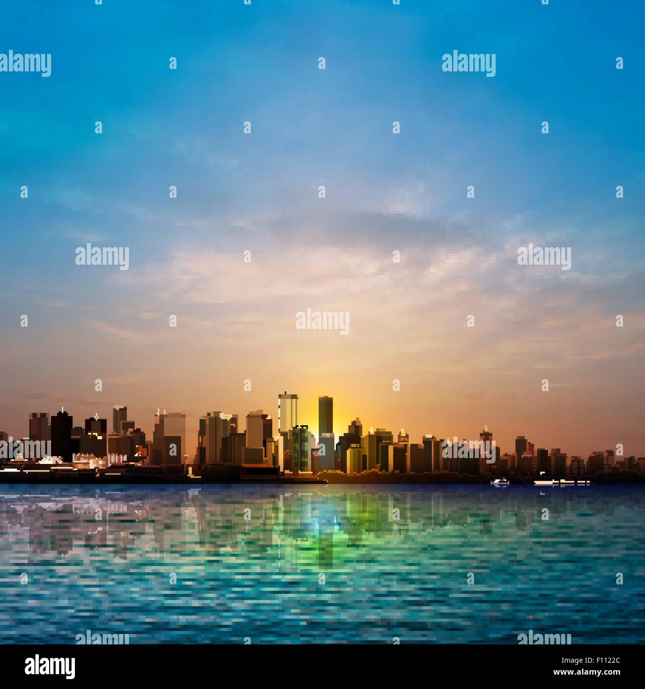 abstract nature background with silhouette of Vancouver and sunrise - Stock Vector