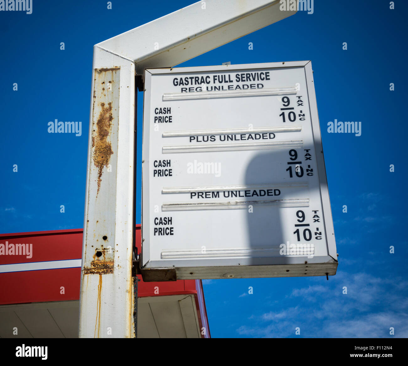 a blank sign used for posting gas prices in an out of business gas