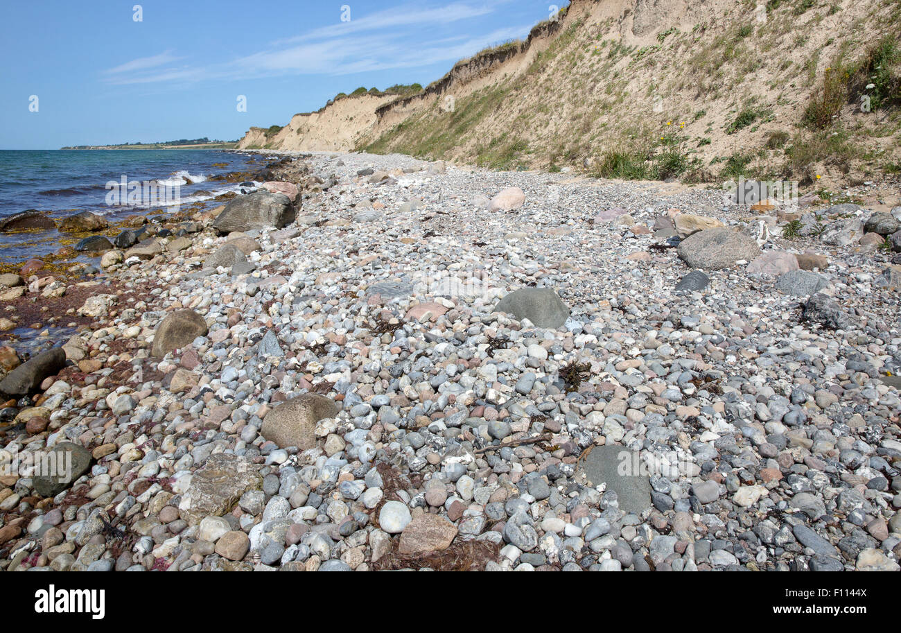 Rocky beach and moraine cliffs at Voderup Klint on the island of Aero, Denmark - Stock Image