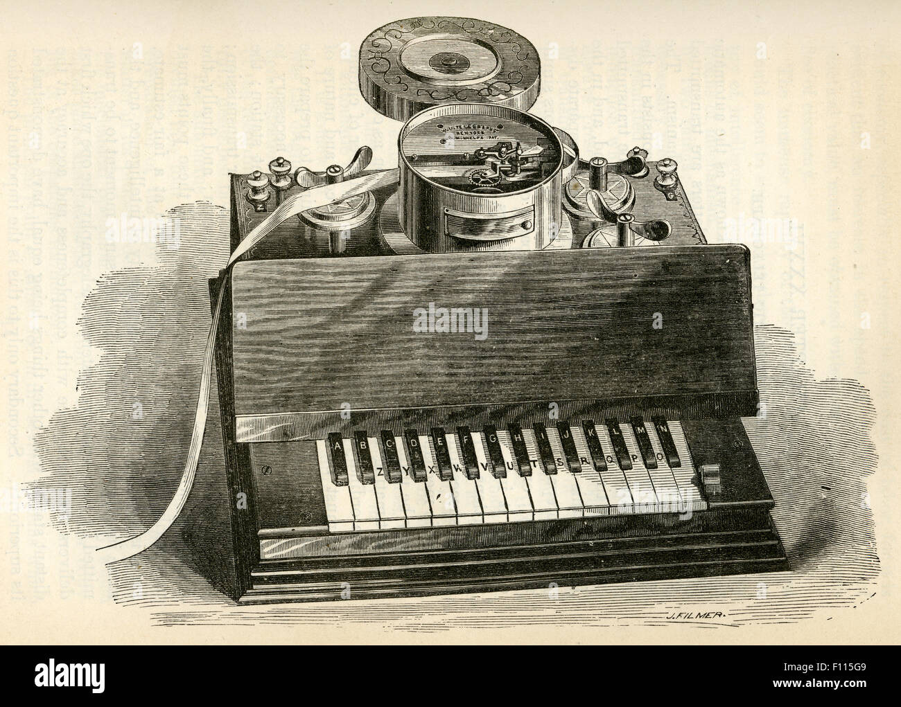 Antique 1877 engraving, Phelps's Printing Telegraph for Private Lines with piano keyboard configuration. - Stock Image