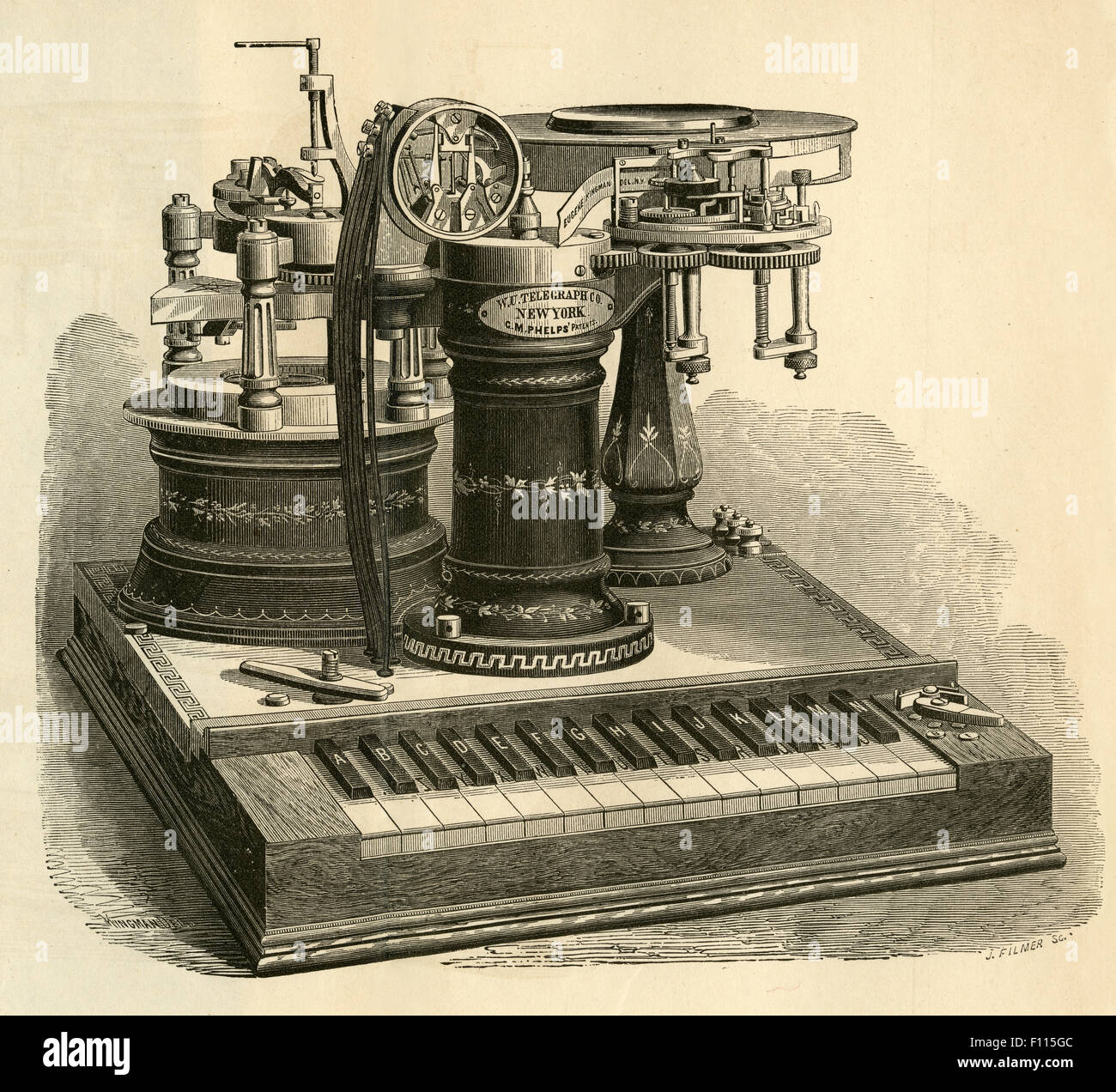 Antique 1877 engraving, George May Phelps Electro-motor Printing Telegraph with piano style keyboard from Western - Stock Image