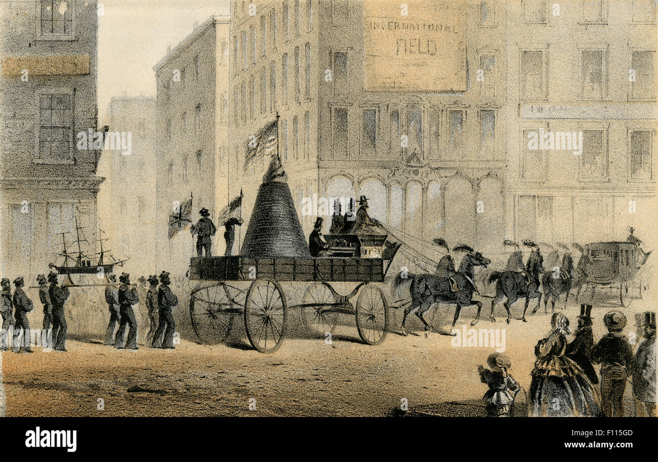 Antique 1861 engraving, Section of the Atlantic Cable Carried by Adams & Co Express Wagon in the Procession - Stock Image