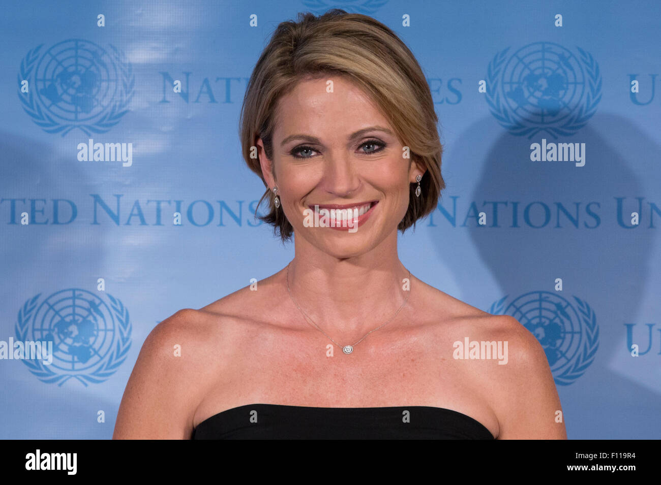 "New York City, United States. 18th Aug, 2015. Amy Robach, News Anchor for ABC, ""Good Morning America"" attends the Stock Photo"