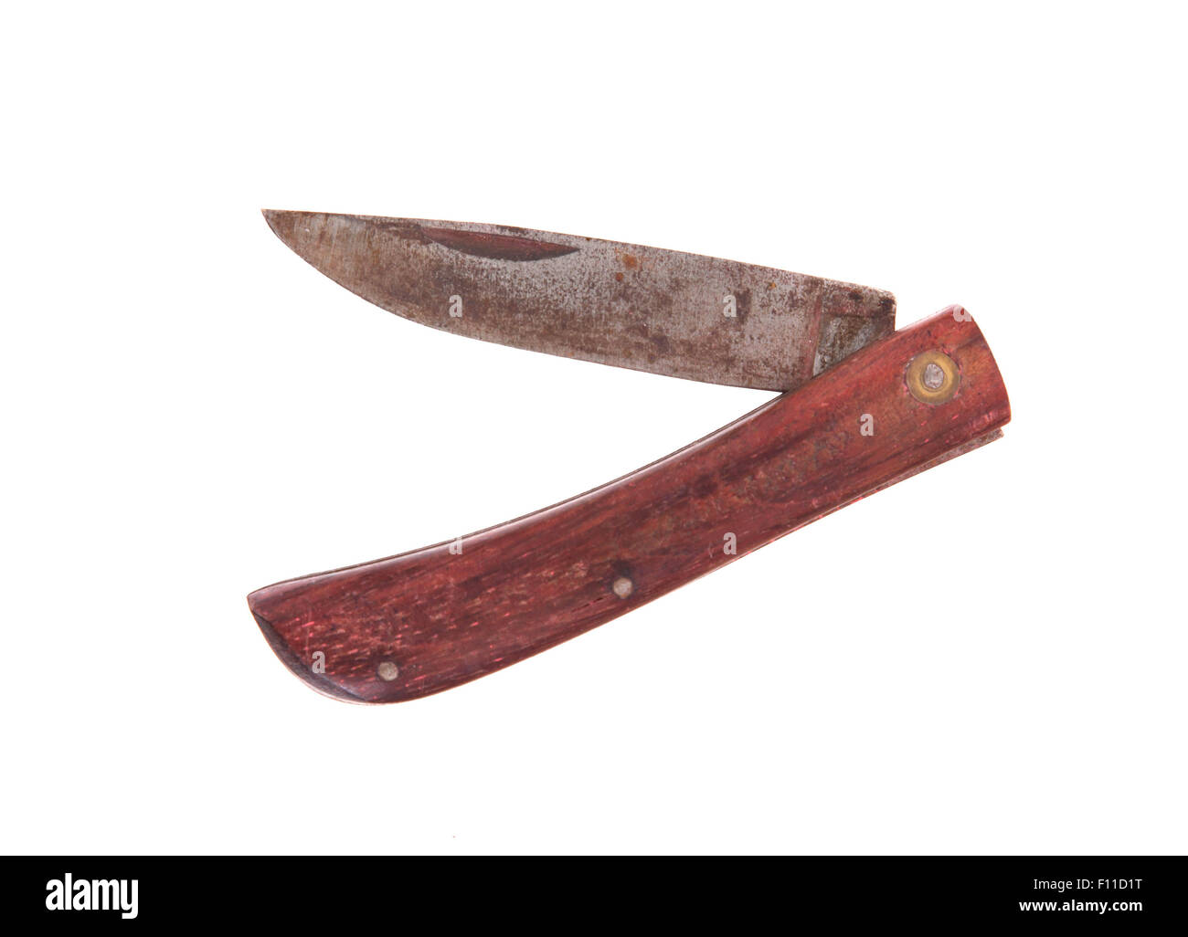 Rusty pocket knife isolated on white background Stock Photo
