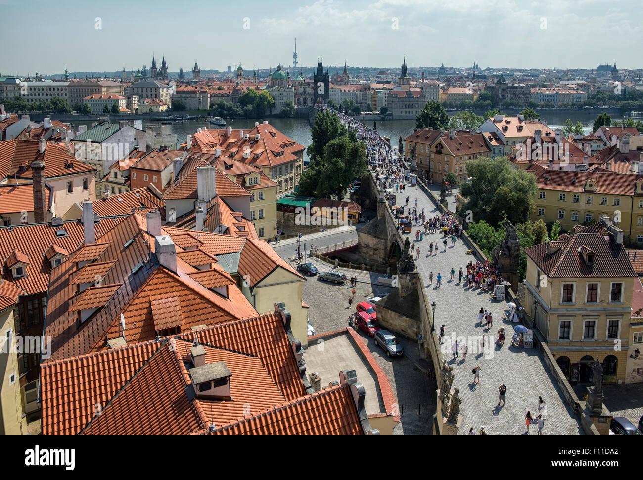 Charles Bridge (Karluv most) - a bridge over the Vltava river in Prague, Czech Republic, Europe - Stock Image