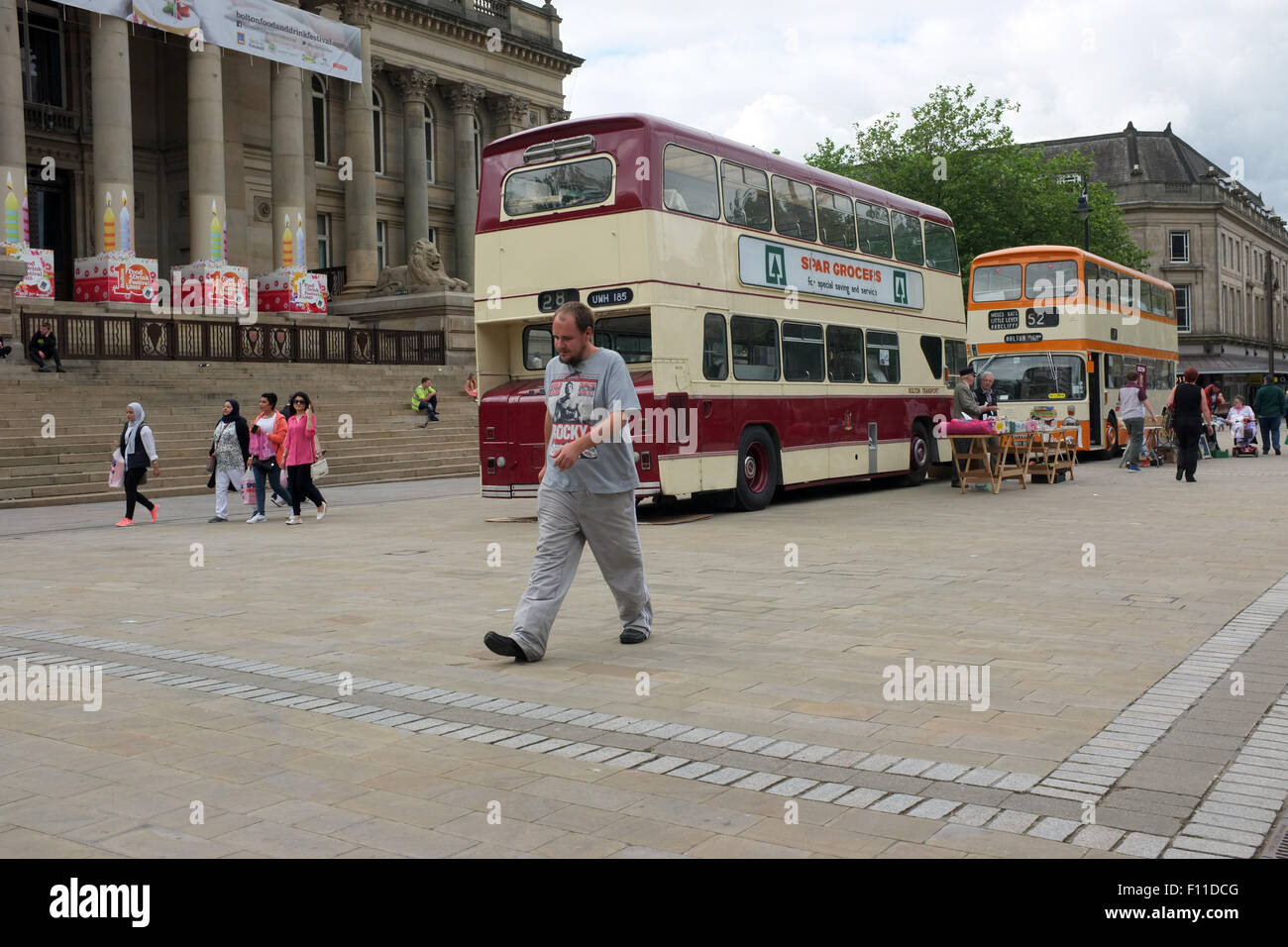 Bolton Bus Preservation Group fund raising event in Victoria Square, Bolton, England UK - Stock Image