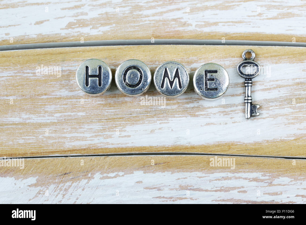 the word 'HOME' written in metal letters - Stock Image