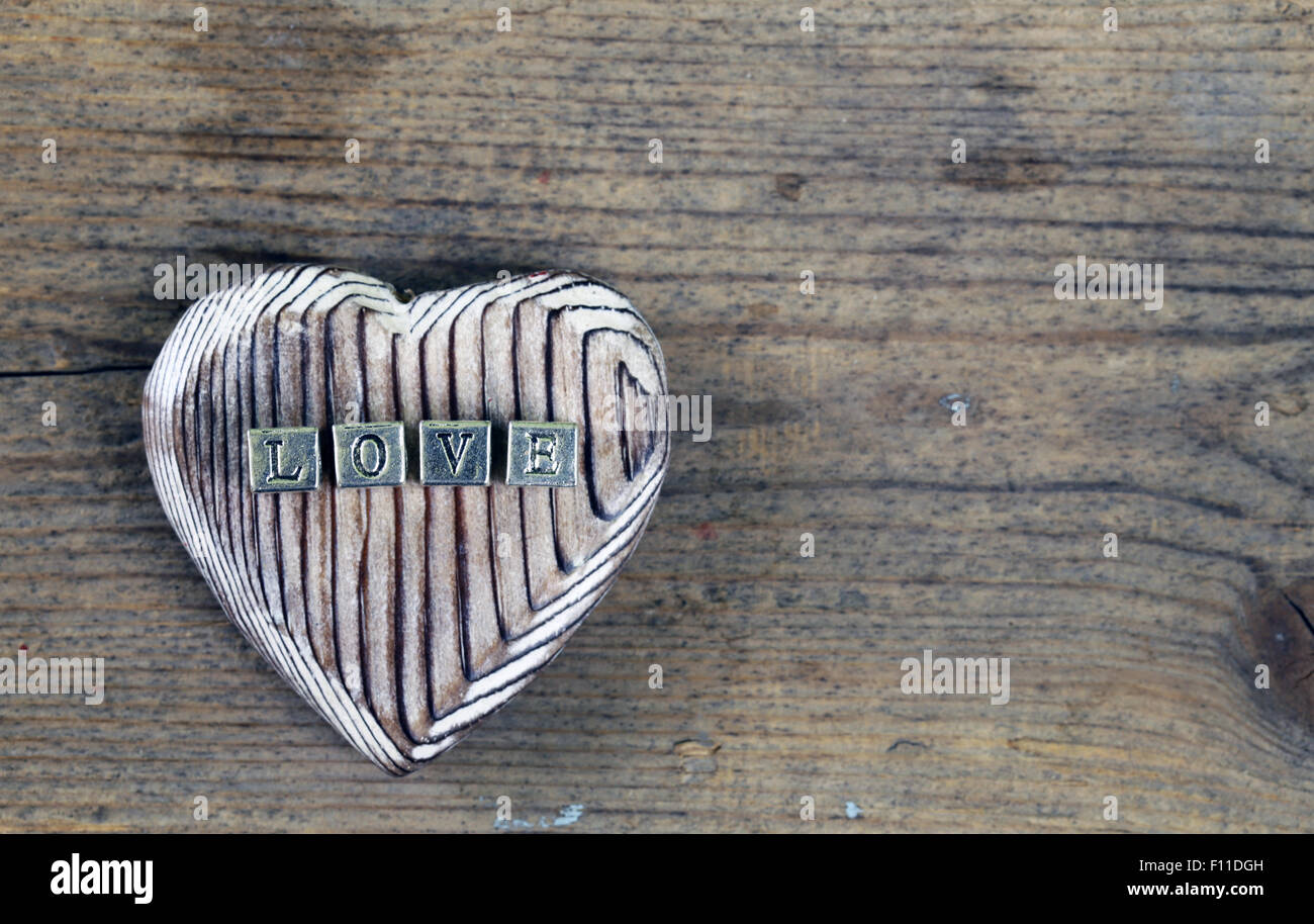 the word 'LOVE' written in metal letters - Stock Image