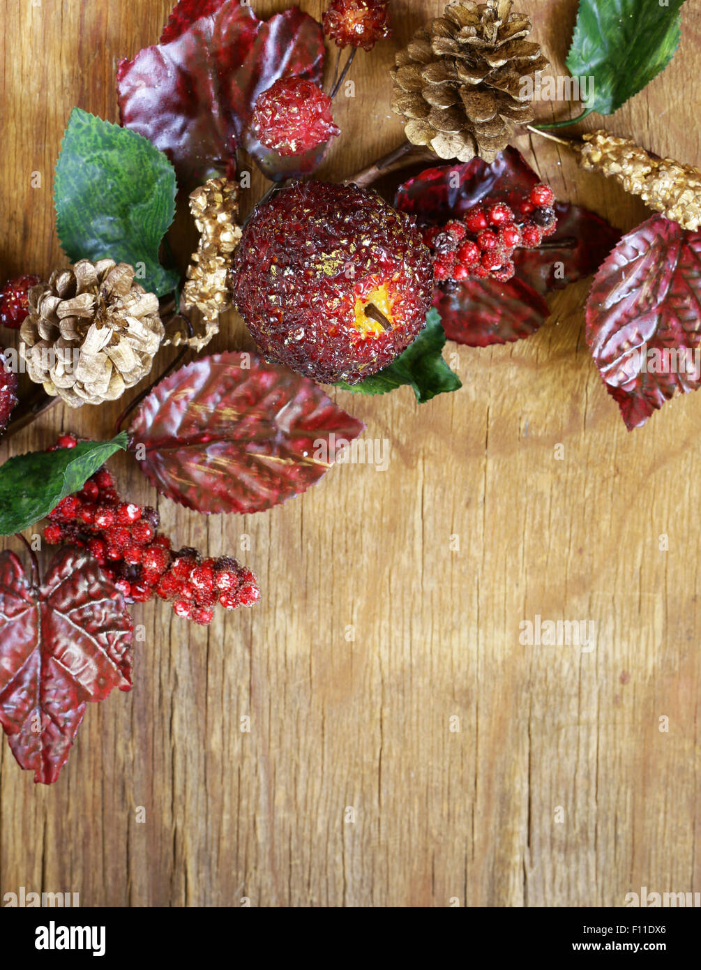 Autumnal Composition With Fruits And Leaves Decorations For