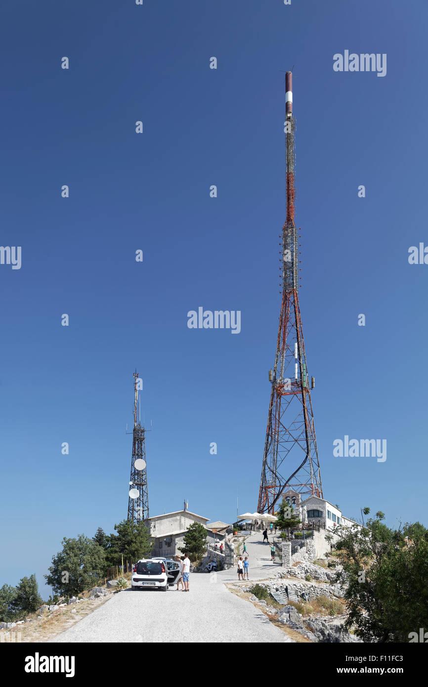 Telecommunications antenna on Mount Pantokrator, Corfu Island, Ionian Islands, Greece - Stock Image