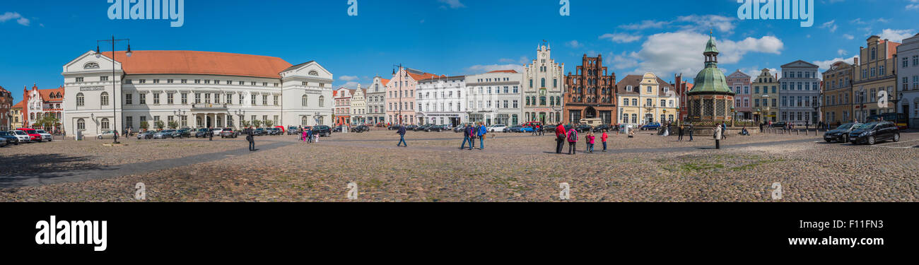 Panorama of the market square, Hanseatic City of Wismar, Mecklenburg-Western Pomerania, Germany - Stock Image