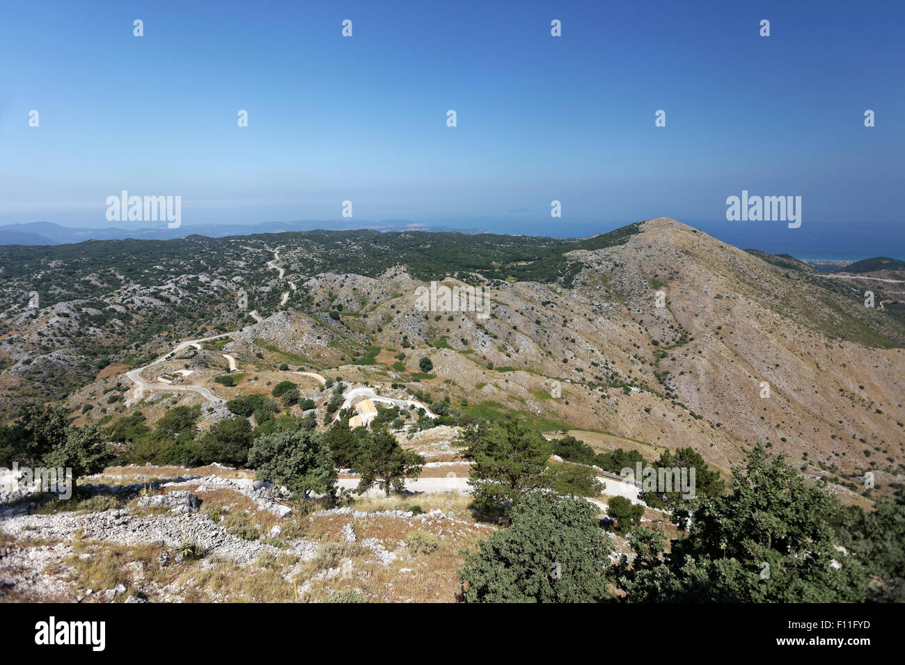 View of the island from Mount Pantokrator, Ionian Islands, Greece Stock Photo
