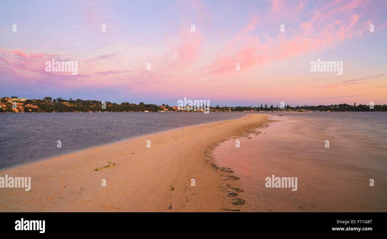 Point Walter sandbar extending out into the Swan River. Taken at sunrise. - Stock Image