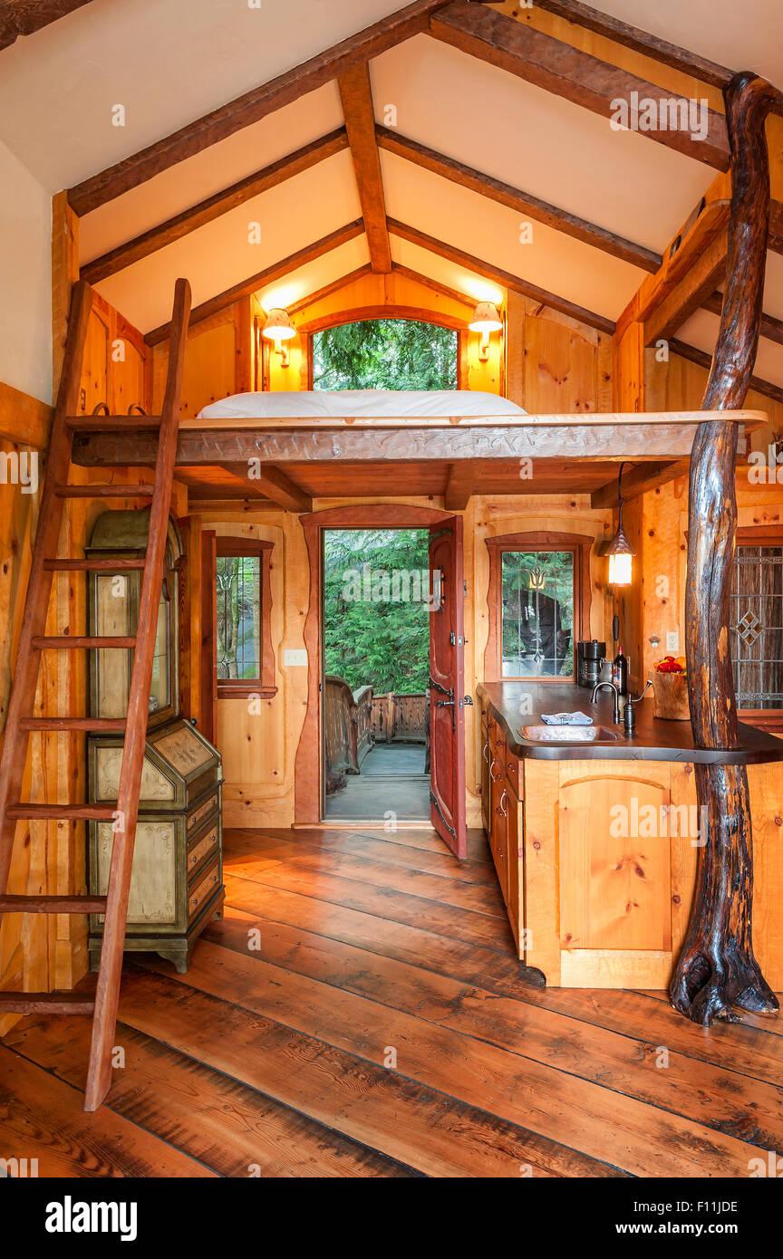 Doorway And Loft Bedroom In Wooden Tree House Stock Photo Alamy