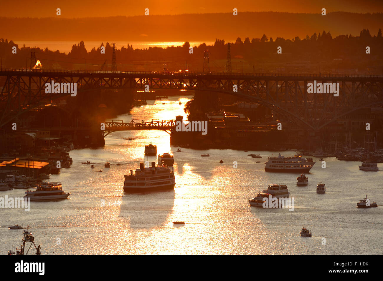 Aerial view of ships on Lake Union at sunset, Seattle, Washington, United States Stock Photo